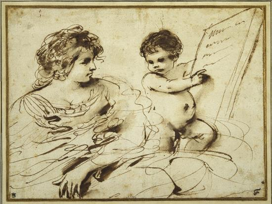guercino-giovanni-francesco-barbieri-a-seated-sibyl-accompanied-by-a-putto-holding-up-a-large-inscribed-tablet