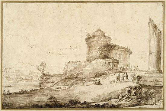 guercino-giovanni-francesco-barbieri-landscape-with-a-broken-column-a-castle-and-numerous-figures-in-the-foreground-at-the-right