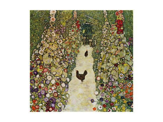 gustav-klimt-gardenpath-with-hens-1916