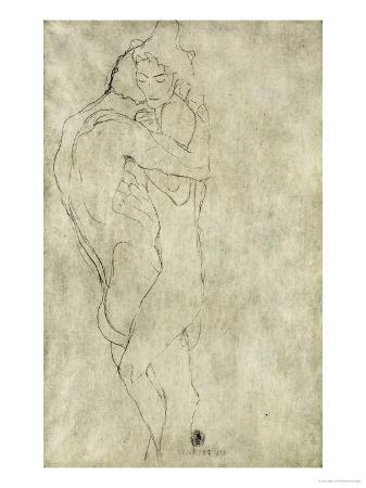 gustav-klimt-lovers-black-crayon-1908