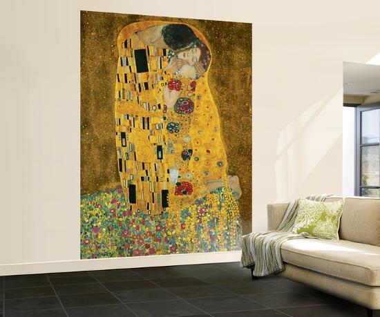 Gustav Klimt The Kiss Wall Mural Wallpaper Mural at Art.com