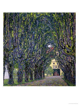 gustav-klimt-tree-lined-road-leading-to-the-manor-house-at-kammer-upper-austria-1912