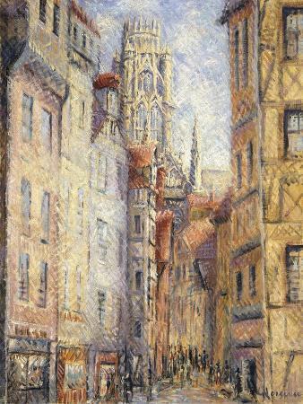 gustave-loiseau-rouen-a-street-by-the-church-rouen-rue-avec-l-eglise-c-1920
