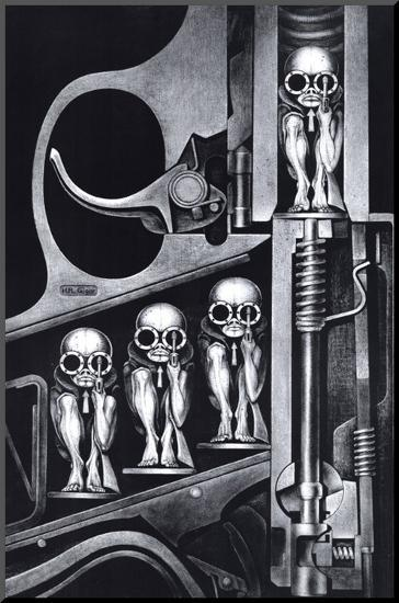 Galleries with this product. Birth Machine Mounted Print by H  R  Giger at Art com