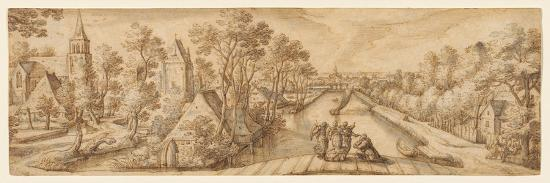 hans-bol-view-of-delfgauw-with-abraham-and-the-three-angels-pen-and-ink-and-wash-on-paper