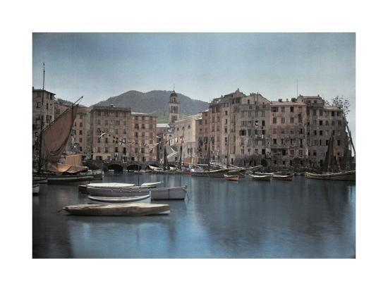 hans-hildenbrand-view-of-ships-at-port-in-a-small-italian-town