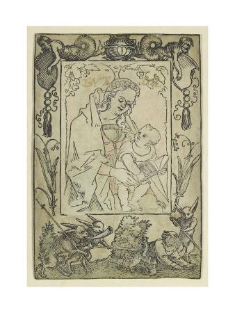 hans-sebald-beham-the-virgin-and-child-surrounded-by-a-border-with-a-hunter-and-some-rabbits-woodcut