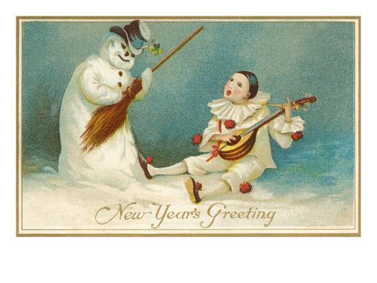 happy-new-year-clown-and-snowman