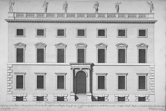 hendrick-hulsbergh-elevation-of-the-west-front-of-the-rolls-office-chancery-lane-city-of-london-1718