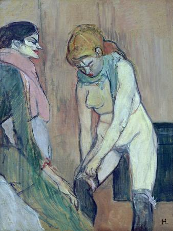 henri-de-toulouse-lautrec-woman-putting-on-her-stocking-or-woman-of-the-house-c-1894-oil-on-card