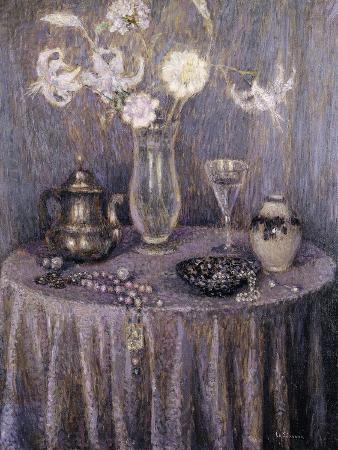 henri-eugene-augustin-le-sidaner-the-table-gray-harmony-la-table-harmonie-grise-1927
