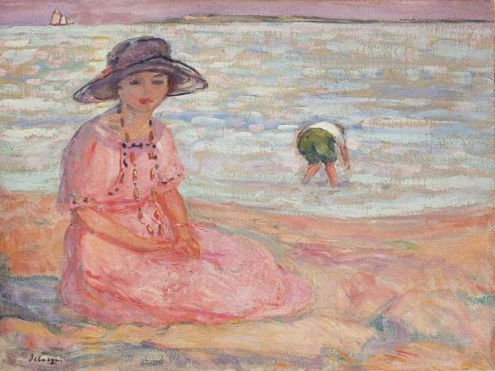 henri-lebasque-woman-in-the-pink-dress-by-the-sea