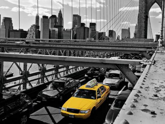 henri-silberman-yellow-cab-on-brooklyn-bridge