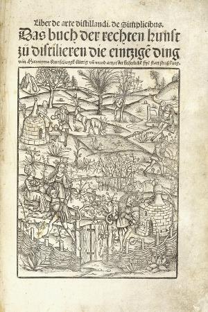hieronymus-brunschwig-title-page-illustrating-herbal-distilleries-with-figures-in-a-landscape-1500
