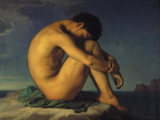 hippolyte-flandrin-naked-young-man-sitting-by-the-sea-1855