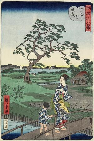 hiroshige-ii-weather-clearing-at-sekiya-village-november-1861