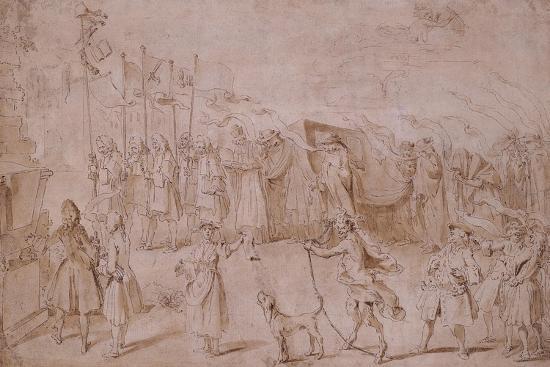 hubert-francois-gravelot-design-of-the-funeral-of-faction-1741
