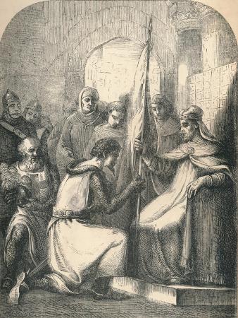 hugh-de-vermandois-receiving-a-consecrated-banner-from-pope-urban-1869