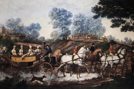 hunting-scene-print-france-19th-century