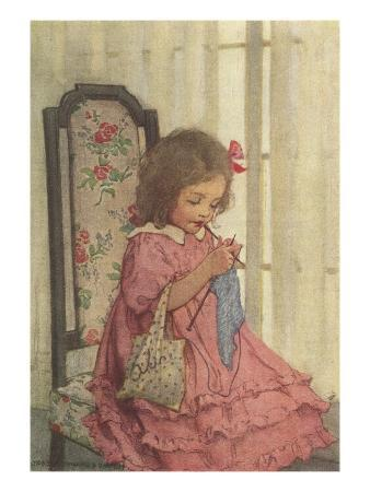 illustration-of-a-little-girl-knitting-by-jessie-willcox-smith