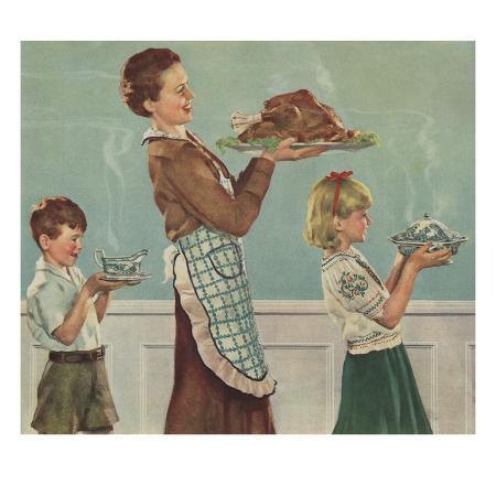 illustration-of-mother-and-children-carrying-thanksgiving-dinner-by-douglass-crockwell
