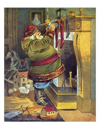 illustration-of-santa-claus-placing-toys-in-christmas-stockings-by-william-roger-snow