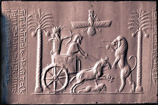 impression-of-a-cylinder-seal-depicting-the-great-king-darius-in-a-chariot-hunting-lions