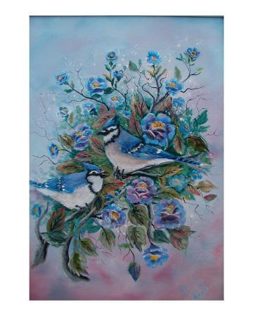 irene-clarke-bluejays-and-flowers