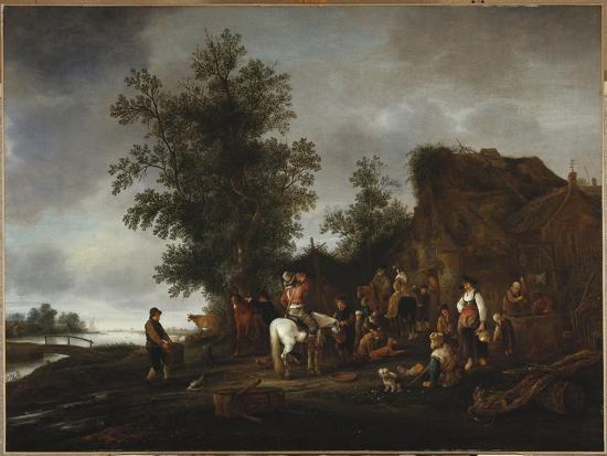 isaac-van-ostade-travellers-refreshing-themselves-at-a-riverside-tavern-1664