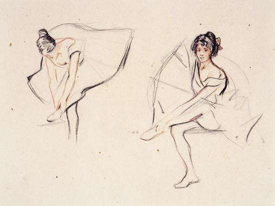isobel-lilian-gloag-two-ballerinas-holding-their-ankles-wearing-ballet-skirts