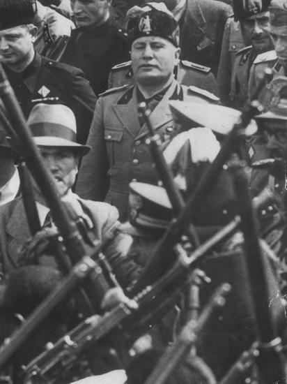Italian Fascist Dictator Benito Mussolini Leading Entourage of ...
