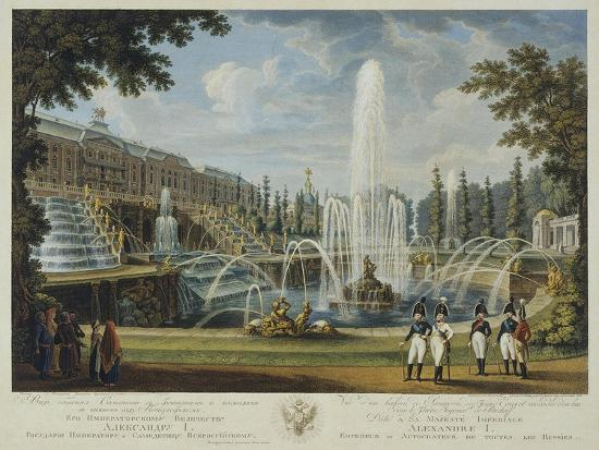 ivan-vasilievich-chessky-view-of-the-great-cascade-samson-fountain-and-great-palace-at-peterhof-early-19th-c