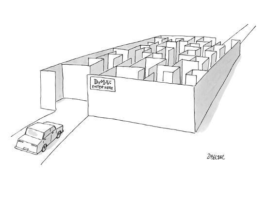 jack-ziegler-a-car-is-entering-a-maze-labeled-d-m-v-enter-here-new-yorker-cartoon