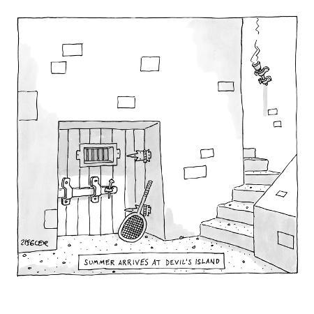 jack-ziegler-a-tennis-racket-leans-against-a-dungeon-door-with-the-title-summer-arriv-new-yorker-cartoon