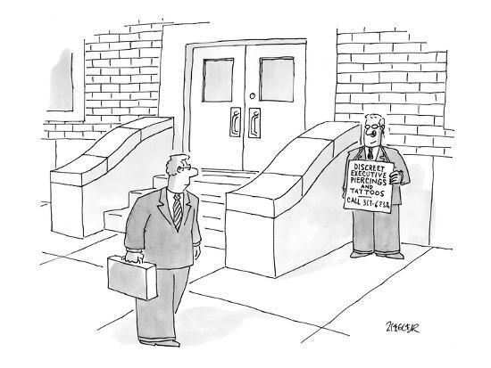 jack-ziegler-man-on-street-with-a-sign-that-reads-discreet-executive-piercing-and-tat-new-yorker-cartoon
