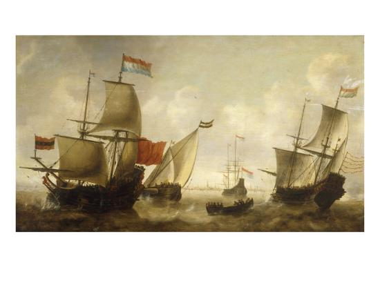 jacob-adriansz-bellevois-a-dutch-merchantman-with-a-wijdschip-and-other-shipping-off-amsterdam