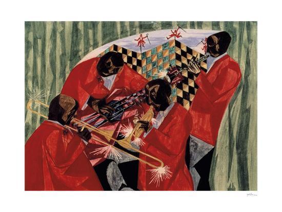 jacob-lawrence-village-quartet-1954