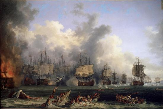 jacob-philipp-hackert-the-sinking-of-the-russian-battleship-st-evstafius-in-the-naval-battle-of-chesma-1771