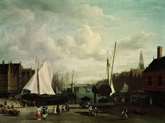 jacob-ruysdael-harbour-with-sailboats-and-marketstalls