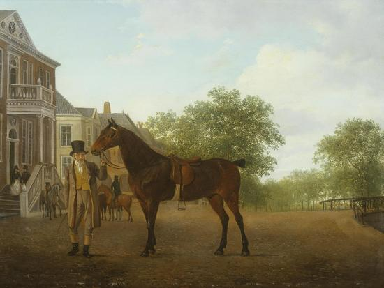 jacques-laurent-agasse-gentleman-holding-a-saddled-horse-in-a-street-by-a-canal-18th-19th-century