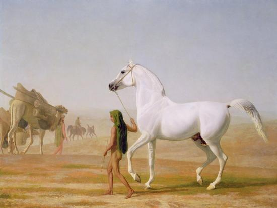 jacques-laurent-agasse-the-wellesley-grey-arabian-led-through-the-desert-c-1810