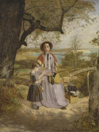 james-collinson-mother-and-child-by-a-stile-with-culver-cliff-isle-of-wight-in-the-distance-c-1849-50