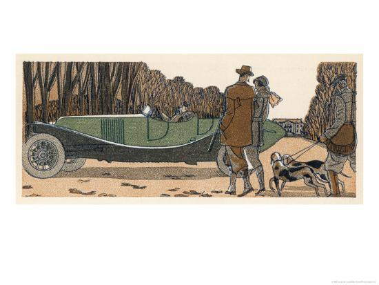 james-de-coquet-couple-in-a-renault-pause-to-exchange-chit-chat-with-a-couple-with-gun-and-dogs-and-gamekeeper