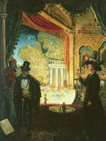 james-dickson-innes-a-scene-in-a-theatre-a-performance-seen-from-a-box-in-which-three-figures-are-standing-1908