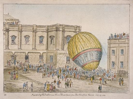 james-gillray-hot-air-balloon-in-the-courtyard-of-burlington-house-piccadilly-westminster-london-1814