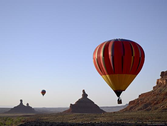 james-hager-formations-in-valley-of-the-gods-with-two-hot-air-balloons-near-mexican-hat-utah