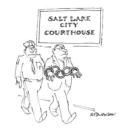 james-stevenson-a-man-is-being-led-by-a-court-officer-past-a-sign-reading-salt-lake-city-new-yorker-cartoon