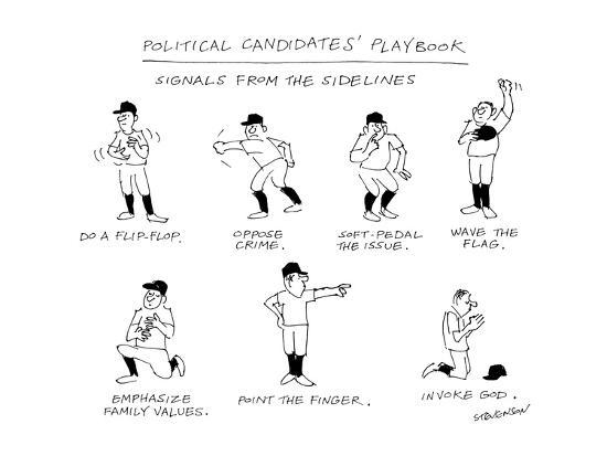 james-stevenson-political-candidates-playbook-signals-from-the-sidelines-new-yorker-cartoon