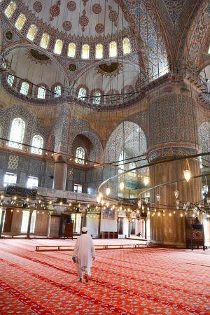 james-strachan-blue-mosque-interior-unesco-world-heritage-site-mullah-in-foreground-istanbul-turkey-europe