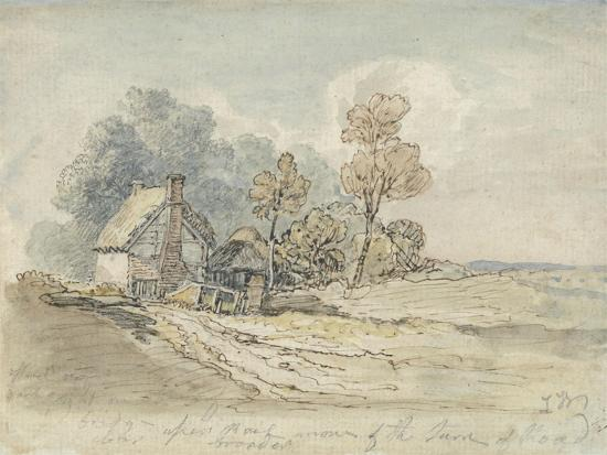 james-ward-a-thatched-cottage-and-trees-at-the-turn-of-a-country-road-pen-and-w-c-on-paper